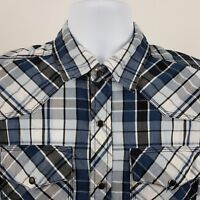 ReClaim Buckle Blue Black Check Men's L/S Western Snap Collar Button Shirt Small