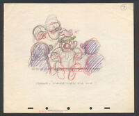 WALT DISNEY STUDIOS SNOW WHITE STORYBOARD/CONCEPT DRAWING OF THE DWARFS (1937)