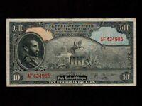 Ethiopia:P-14,10 Dollars * Haile Selassie * 1945 * VF *
