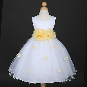 US Seller New White Butterfly Petals Baby Easter Party Wedding Flower Girl Dress