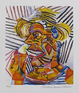 Pablo Picasso MAN WITH STRAW HAT Estate Signed & Numbered Small Giclee
