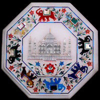 Marble Top Coffee Table Taj Mahal Mother of Pearl Marquetry Inlay Hallway Decor