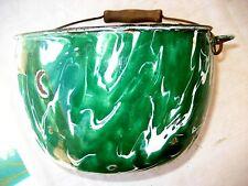 """Old kelly green & white swirl graniteware 8""""D pot kettle w/bail handle"""