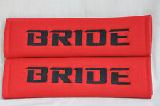 Embroidery Black on Red Bride Racing Logo Seat Belt Cover Shoulder Pads Pairs