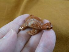 Y-Tur-Se-1) orange red Sea turtle carving Soapstone Figurine love little turtles