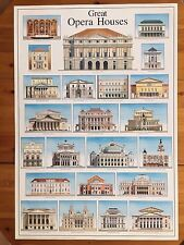 GREAT OPERA HOUSES,DESIGN BY ANDRAS KALDOR,RARE AUTHENTIC 1994 POSTER
