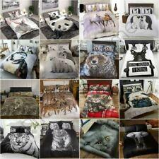 Animali Foto Set Copripiumino Husky Tigre Orso Cervo Gatti - Singolo,Doppio King