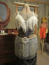 Professional Belly dance costume Custom made2 layers fringe pearl/ silver used