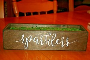 """SPARKLERS Wood Holder for Wedding-Approx 13.5""""X4""""X3.25""""-Used"""