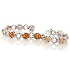 "VICTORIA WIECK STERLING FIRE OPAL WHITE TOPAZ 2 TONE 7.5"" BRACELET HSN SOLD OUT"