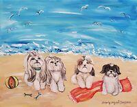 Shih Tzu on the Beach Folk Pop Art Print 8x10 Signed by Artist KSams Collectible