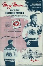 "Vintage Mary Maxim Knitting Pattern Men's Indian Eagle Design Cardigan 38"" - 44"""