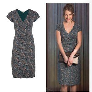 KETTLEWELL Antique Teal / Latte Arabella Cap Sleeve Faux Wrap Dress Large UK 14