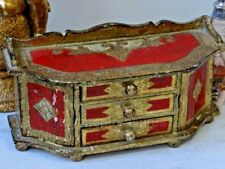 Vintage Italian Florentine Gilt Wood Footed Jewellery Chest of Drawers Gold Red