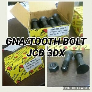 TOOTH POINT BOLT & NUT 10 PCS (PART NO. 826/00303 1340/0701) JCB BACKHOE - 3CX