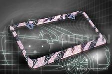 Bling Pink/Blk ZEBRA Designed Diamond License Plate Frame/CC