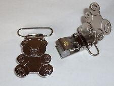 """2 Stück Hosenträgerclip Clip Verschluss """"Teddy""""  25 mm silber  NEUWARE"""