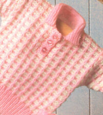 """Baby Sweater Knit with 2 Colours 16"""" - 24"""" ~  DK Knitting Pattern"""