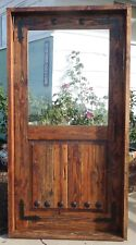 Rustic reclaimed solid lumber Doug Fir square top glass door kitchen winery iron