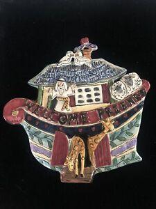 Ceramic 2002  Welcome Friends Noah's Ark Blue Sky Wall Plaque ceramic