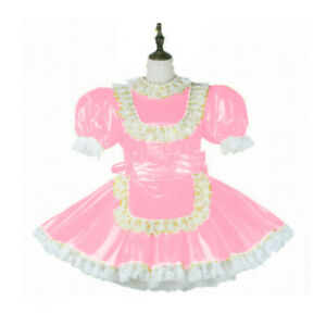 Sissy maid pvc dress lockable Uniform cosplay costume Tailor-made Sexy Cute Maid
