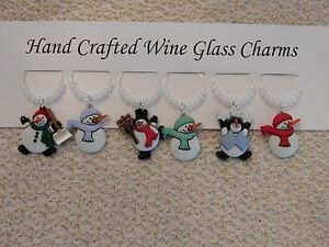 """""""SNOWMEN/ WINTER""""  SET OF 6  HAND CRAFTED Wine glass drink marker Charms"""