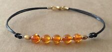 Orange AMBER COPAL, Black Leather Cord, Gold Tone Plated, Friendship Bracelet