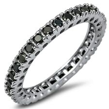 Eternity Wedding Band 5 Color Gemstones .925 Sterling Silver Band 4-12