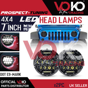 2x 7Inch 300W Round LED Headlights For 4X4 Land Rover 90/110 Defender Jeep VKHP5