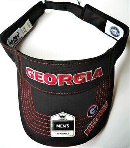 GEORGIA BULLDOGS ADULT ADJUSTABLE BLACK VISOR CAP HAT WITH G & NICKNAME ON BILL