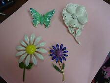 Vintage Enamel FLOWER butterfly Brooch LOT of 4 signed Japan Germany pin broach