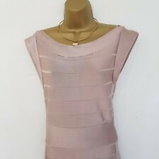 French Connection Champagne/Rose Gold Bandage Miami Spotlight Dress Sz 12 Party