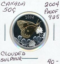 CANADA 50 CENTS 2004 CANADIAN BUTTERFLY SERIES CLOUDED SULPHUR  - PROOF .925
