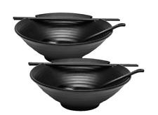 2 x Large 37oz Ramen Bowl Set with Chopsticks & Ladle Spoons Set