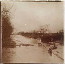 Paris Inondations Crue de la Seine de 1910 Photo Plaque Stereo Vintage LD8