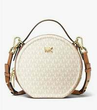 Michael Kors Delaney Canteen Small Signature Women Crossbody Vanilla/Acorn New
