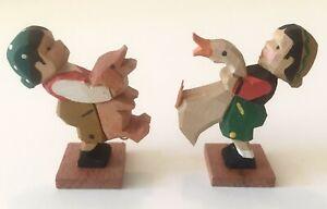 VTG Erzgebirge Dutch Girl Boy Holding Goose Pig Carved Wood Figure Germany GDR