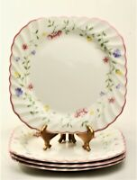 Johnson Brothers Summer Chintz Square Salad Plates - Set of Four ~ England EUC