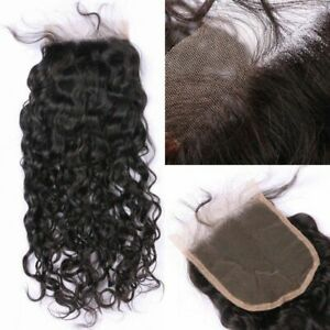 "Peruvian Loose Water  Curly 4x4""Lace Top Closure Virgin Human Hair Bleach Knots"