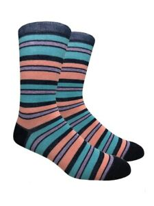 2 pack Striped Best Men's Mid-Calf Cute Funky Colorful Cotton Dress Socks