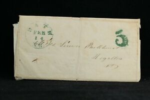 New Hampshire: Bath 1847 Stampless Cover, Green CDS & Large 5c Rate, Grafton Co