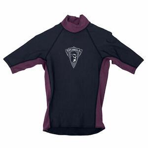 Vintage O'Neill Rash Guard Men Size S Black/Purple Mock Neck Short Sleeve Surfer
