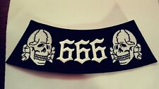666 Skull & Crossed Bones Rocker Patch, black & White. HARLEY  SYLO
