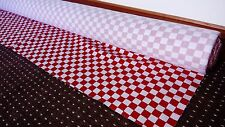 RED & WHITE CHECK FABRIC CHEQUERED HEAVY COTTON DRILL MTR 60 inch wide POST FREE