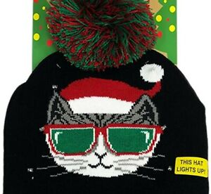Ugly Christmas Hat & Socks Meowy Christmas Cat Light Up New