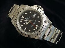 Mens Rolex Stainless Steel Explorer II Date Watch 40mm Black Dial Model 16570