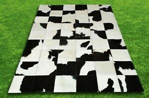 New Large Cowhide Rug Patchwork Cowskin Cow Hide Leather Carpet White and Black.