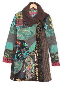 DESIGUAL 48E2039 Wool Blend Coat Women Size 40 UK ~12-14