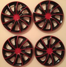 15 inch Hubcaps Wheel Covers Universal Wheel Rim Cover 4 Pieces set BLACK RED