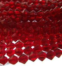 85 + GLASS BICONE BEADS Dark Red Faceted 5mm 14'' Strand Cranberry Deep